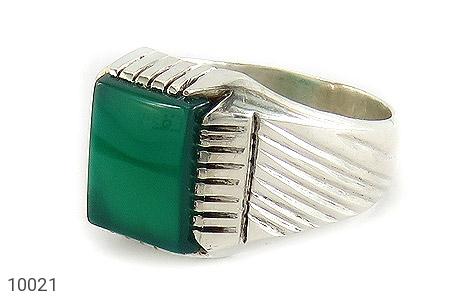 انگشتر عقیق سبز چهارگوش مردانه - عکس 1