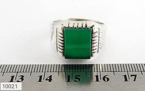 انگشتر عقیق سبز چهارگوش مردانه - تصویر 6