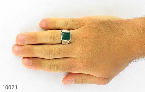 انگشتر عقیق سبز چهارگوش مردانه - عکس 7