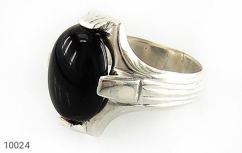 انگشتر عقیق سیاه خوش رنگ مردانه - عکس 1