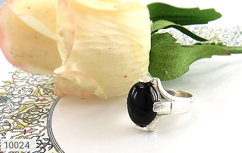 انگشتر عقیق سیاه خوش رنگ مردانه - عکس 5