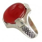 انگشتر عقیق سرخ خوش رنگ هنردست مردانه