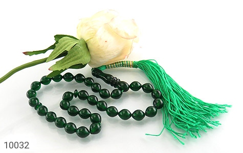تسبیح سندلوس 33 دانه سبز کار ترک - عکس 3