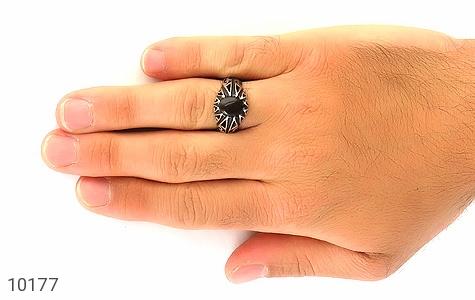 انگشتر عقیق سیاه مردانه - عکس 7