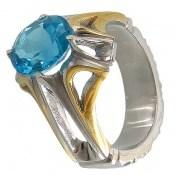 انگشتر توپاز آبی مرغوب درخشان مردانه
