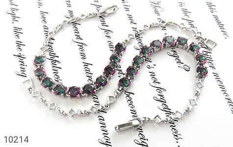 دستبند توپاز هفت رنگ طرح نگین زنانه - عکس 3