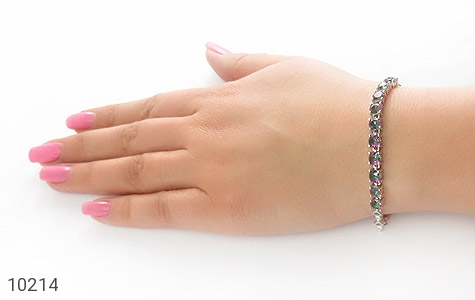 دستبند توپاز هفت رنگ طرح نگین زنانه - تصویر 6