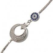 دستبند نقره طرح ماه و ستاره زنانه