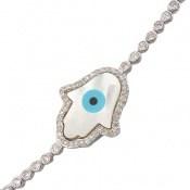 دستبند نقره چشم زخم درشت زنانه