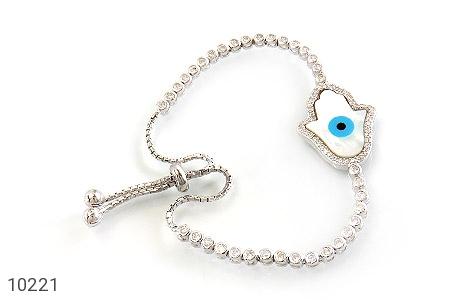 دستبند نقره چشم زخم درشت زنانه - عکس 1