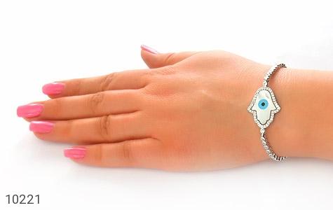 دستبند نقره چشم زخم درشت زنانه - عکس 5