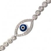 دستبند نقره آسانسوری طرح چشم زخم زنانه