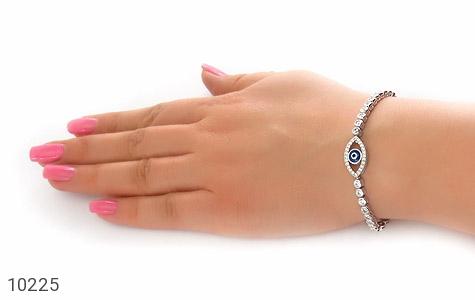 دستبند نقره آسانسوری طرح چشم زخم زنانه - تصویر 6