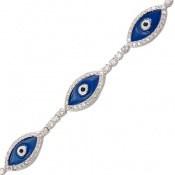 دستبند نقره طرح چشم زخم قفل آسانسوری زنانه