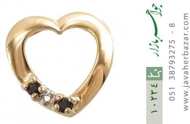مدال الماس و یاقوت کبود مرغوب طرح قلب زنانه - کد 10234