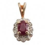 مدال الماس و یاقوت سرخ ارزشمند طرح گل زنانه