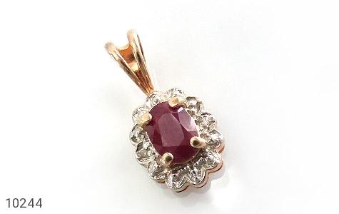 مدال الماس و یاقوت سرخ ارزشمند طرح گل زنانه - عکس 1