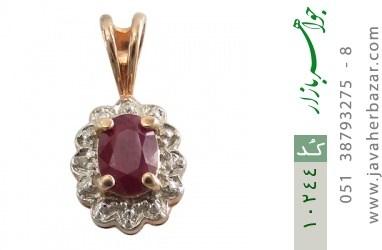 مدال الماس و یاقوت سرخ ارزشمند طرح گل زنانه - کد 10244