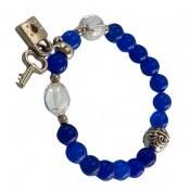 دستبند جید آبی طرح قفل و کلید زنانه