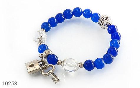 دستبند جید آبی طرح قفل و کلید زنانه - عکس 1