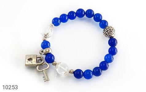 دستبند جید آبی طرح قفل و کلید زنانه - تصویر 2
