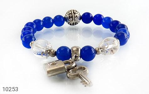 دستبند جید آبی طرح قفل و کلید زنانه - عکس 3