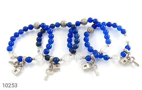 دستبند جید آبی طرح قفل و کلید زنانه - تصویر 4