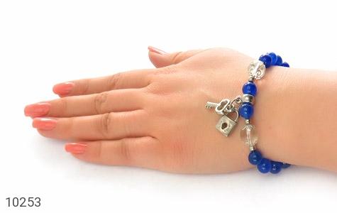 دستبند جید آبی طرح قفل و کلید زنانه - عکس 7