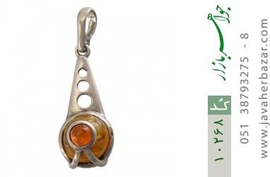 مدال کهربا طرح تک نگین زنانه - کد 10268