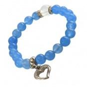 دستبند جید آبی آویز قلب فانتزی زنانه