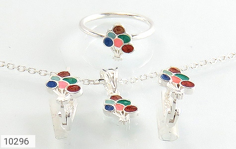 سرویس نقره همراه زنجیر طرح رنگارنگ بچه گانه - عکس 1