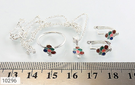 سرویس نقره همراه زنجیر طرح رنگارنگ بچه گانه - عکس 9