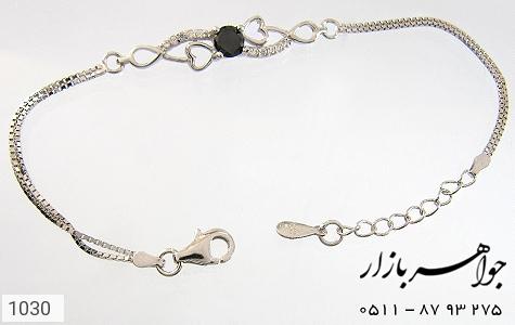 دستبند نقره آب رودیوم طرح قلب زنانه - عکس 1