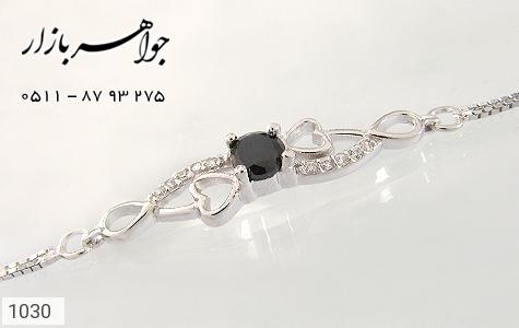 دستبند نقره آب رودیوم طرح قلب زنانه - تصویر 2