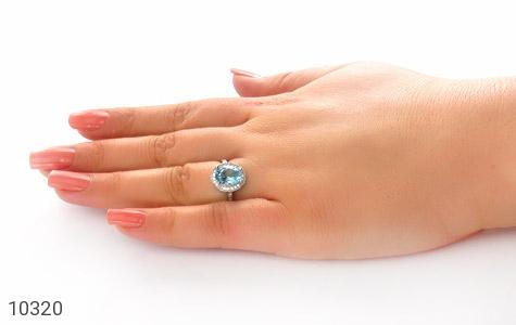 انگشتر توپاز آبی جذاب طرح یکتا زنانه - عکس 7