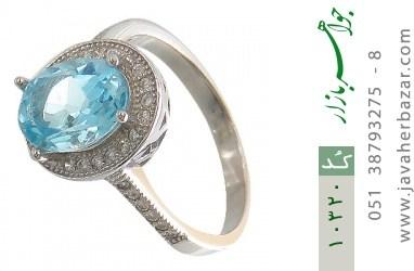 انگشتر توپاز آبی جذاب طرح یکتا زنانه - کد 10320