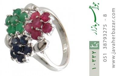 انگشتر زمرد و یاقوت سه گل بهاری زنانه - کد 10332