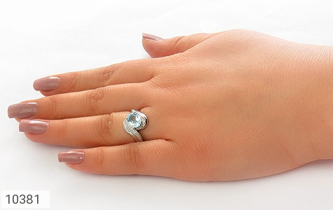 انگشتر توپاز آبی درخشان زنانه - عکس 7