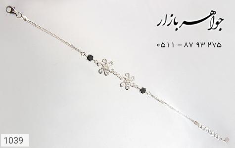 دستبند نقره آب رودیوم طرح گل زنانه - عکس 3