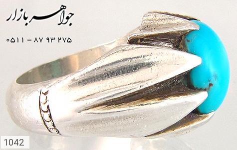انگشتر فیروزه نیشابوری لوکس رکاب دست ساز - تصویر 4
