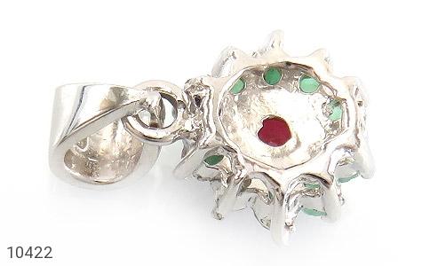 مدال زمرد و یاقوت سرخ طرح گل زنانه - عکس 3
