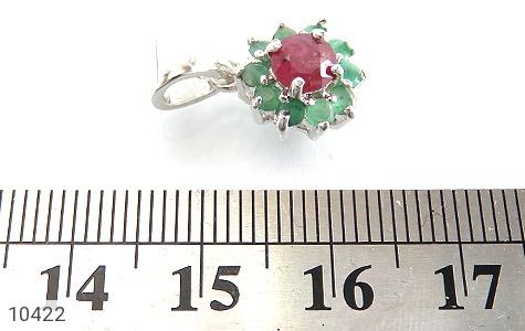 مدال زمرد و یاقوت سرخ طرح گل زنانه - عکس 5