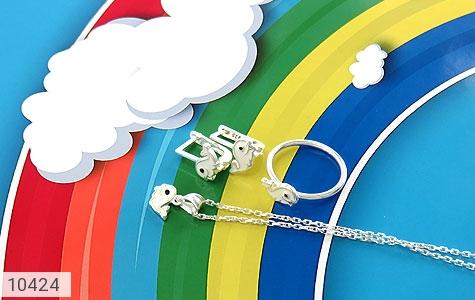 سرویس نقره طرح دلفین همراه زنجیر بچه گانه - عکس 1
