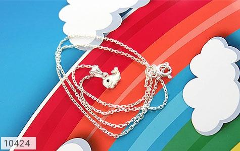 سرویس نقره طرح دلفین همراه زنجیر بچه گانه - تصویر 2