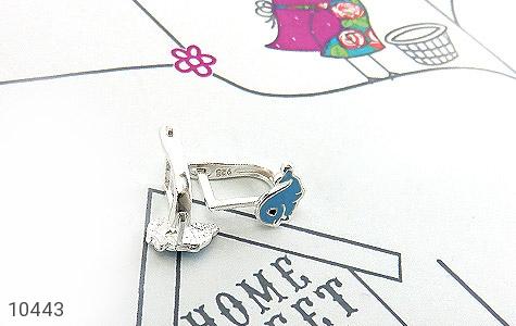 سرویس نقره همراه زنجیر طرح دلفین آبی بچه گانه - عکس 3