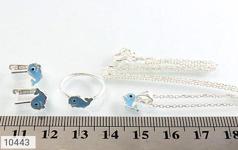 سرویس نقره همراه زنجیر طرح دلفین آبی بچه گانه - عکس 7