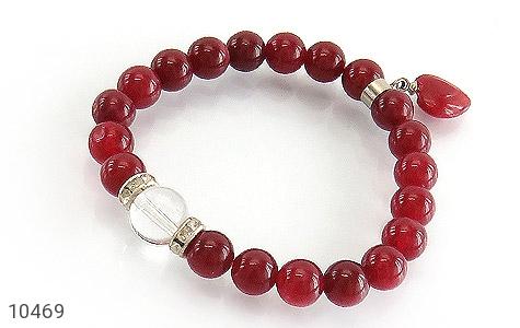 دستبند جید قرمز آویز قلب زنانه - عکس 1