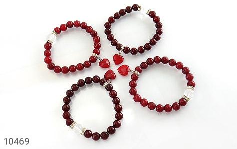 دستبند جید قرمز آویز قلب زنانه - عکس 3