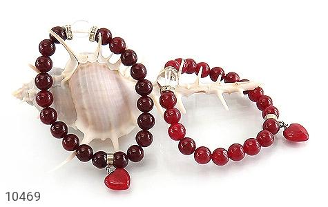 دستبند جید قرمز آویز قلب زنانه - تصویر 4