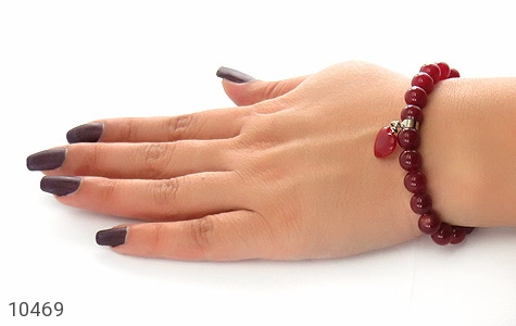 دستبند جید قرمز آویز قلب زنانه - تصویر 6